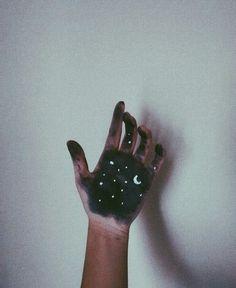 stars, moon, and hand image