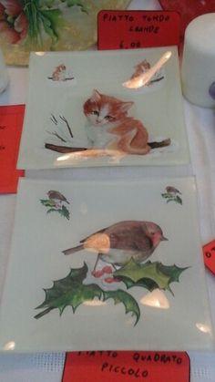 Piatto in vetro quadrato piccolo con gattino o pettirosso