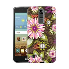 LG Treasure 4G LTE Exotic Pink and White Flowers on Brown Slim Case