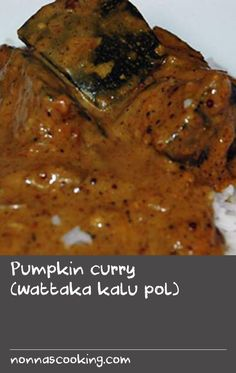 Pumpkin curry (wattaka kalu pol) | A simple but delicious vegetable curry recipe that uses Sri Lanka's dark roasted curry powder and is thickened and flavoured with toasted rice and desiccated coconut. A truly glorious dish to serve as part of a shared meal.