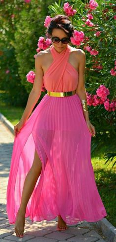 Pink Pleated Maxi Skirt With Gold Belt   Summer St...