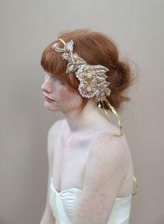 Golden crystal hair wrap - Style #330 (2013, crystal headpiece, hair adornments, headband, headpieces, twigs & honey, view all) | Headpieces | Twigs & Honey ®, LLC
