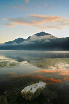 Lake Batur with Mount Batur on the background. Bali, Indonesia. #batur #bali #indonesia