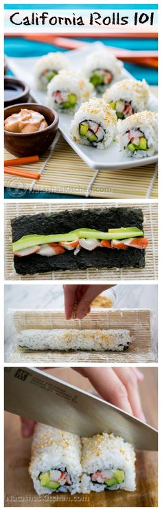 Everything you need to know to make the best California rolls: Perfect sushi rice, dips, sauces and secret techniques! A full step-by-step photo tutorial! @NatashasKitchen sushi sauce, california sushi roll recipe, rice rolls, sushi california rolls, california sushi recipes, california roll sushi, california sushi rolls, cucumber sushi rolls, sushi rolls recipes