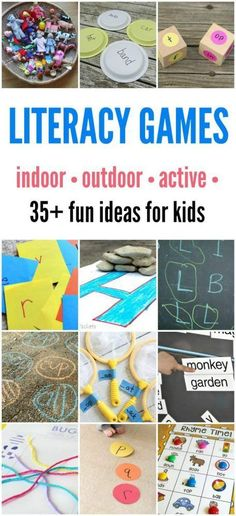 Literacy Games for Kids: Indoor and Outdoor Learning Fun! Fun games for kids that promote literacy l Rhyming Activities, Preschool Literacy, Early Literacy, Literacy Activities, Phonics Games, Abc Games, Literacy Strategies, Kindergarten Learning, Early Learning