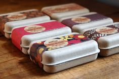 Mirasol Farm - party favors for weddings, bridal or baby showers. Each pack contains a selection of travel-size organic cold-processed soaps. Pretty wrap around paper sleeve and SPI's GreenKraft clamshell box.