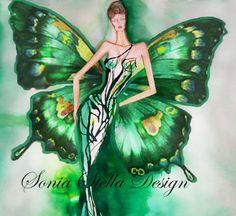 Butterfly Fashion Illustration Design by originalfashionart, $33.50