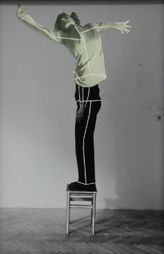 Eva Kotátkováselected -  from the series It is Not How People Move, But What Moves Them, 2012 black and white photograph, scratched lines, collage with printed illustration