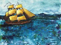 Partons la mer est belle - encre d'acrylique avril 2018 11 x 14 réalisé dans le cadre de mon cours  Peinture et techniques mixtes donné par France Guérin Avril, Sailing Ships, Boat, France, Painting, The Sea, Ink, Dinghy, Painting Art
