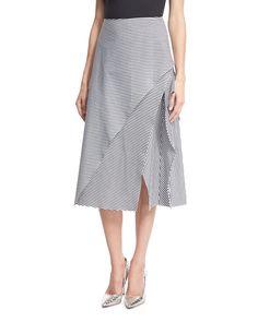 Robert Rodriguez Striped Asymmetric A-line Midi Skirt, Black/white Midi Wrap Skirt, Black Midi Skirt, Stripe Skirt, Ruffle Skirt, Wrap Skirts, Asymmetrical Skirt, Layered Skirt, Fashion Sewing, Rock