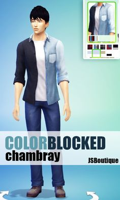Sims 4 Updates: Colorblocked Chambray Shirt at JSBoutique