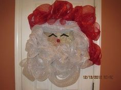How to make your own Deco Mesh Santa Wreath, My Crafts and DIY Projects