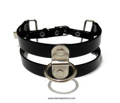 """New """"Connection"""" choker. Handmade in vegan patent leather with a silver bridge and ring that you can wear both horizontally or vertically."""