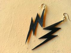 Lightening Bolt Earrings, Recycled Bike Tube by MoabBagCompany, $16.50
