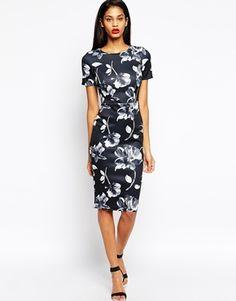 ASOS Mono Floral Body-Conscious Dress