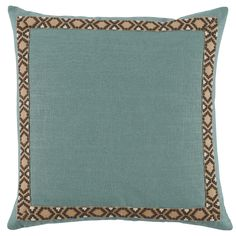 D953  Lacefield Aquamarine Linen 24x24 Pillow with Camden Tape  www.lacefielddesigns.com #pillows #interiors #lacefielddesigns