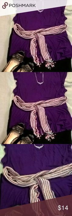 Purple cut off sleeve Jennifer Lopez blouse Jennifer Lopez purple shirt flares around the bottom or on the waist let me know if you need more pictures. Scarf is going around the waist in this picture and heels are listed separately with Jewel embellishment on top of the toes. They are such beautiful shoes Jennifer Lopez Tops Blouses