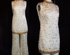 60s Mini Dress Tunic Pants Set 1960s Vintage Gold Metallic Brocade Mod 2 pc Formal Suit Sleeveless M