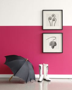 Colorhouse hot pink PETAL .04 Half Wall DIY painting project - Design by Vicki Simon