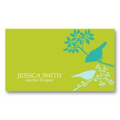 Green and Blue Birds Business Cards