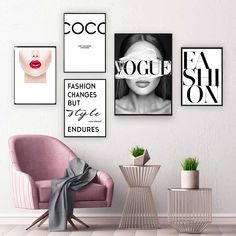 Fashion Vogue COCO Lips Sexy Girl Wall Art Canvas Poster Minimalist Print Painting Wall Picture for Living Room Home Decor Canvas Wall Collage, Bedroom Wall Collage, Canvas Poster, Canvas Art Prints, Wall Prints, Rich Girl Bedroom, Fashion Wall Art, Living Room Pictures, Rooms Home Decor