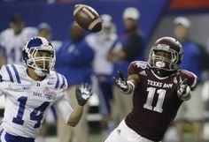 Derel Walker, Bryon Fields Texas A&M wide receiver Derel Walker (11) goes for a pass with Duke cornerback Bryon Fields (14) in the first half of the Chick-fil-A Bowl NCAA college football game Tuesday, Dec. 31, 2013, in Atlanta. (AP Photo/John Bazemore)