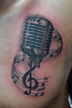Music Notes And Microphone Tattoo Design by Akadrowzy