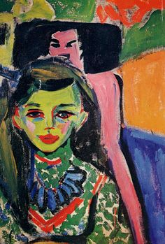 Franzi in front of Carved Chair by Ernst Ludwig Kirchner