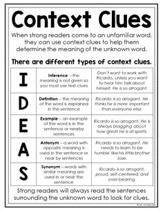 Tips for Teaching Context Clues — The Stellar Teacher Co.Tips for Teaching Context Clues — The Stellar Teacher Co.Tips for Teaching Context Clues — The Stellar Teacher Co. Reading Lessons, Reading Strategies, Reading Skills, Teaching Reading, Reading Comprehension, Vocabulary Strategies, Comprehension Strategies, Teaching Tips, Math Lessons