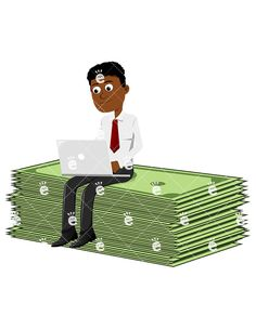 A Black Man Atop A Large Sum Of Money, Working On A Laptop:  #abundance #abundant #affiliate #affluent #african #african-american #american #billstrap #black #boss #business #businessman #capitalist #career #cartoon #cash #CEO #character #clipart #company #conor #corporate #corporation #currencyband #currencystrap #dollars #drawing #e-commerce #easy #ecomm #ecommerce #economical #economy...
