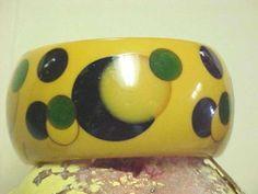 Bakelite Multi Color Polka Dot Shultz Wide Bracelet