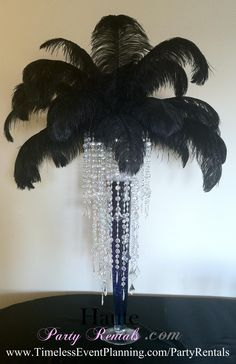 Feather Centerpiece Trumpet with Crystals