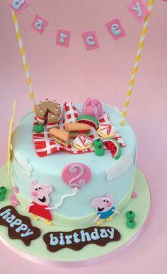 Peppa Pig themed cake for Darcey's 2nd birthday! www.vintagehousebakery.co.uk