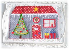 Weihnachtshaus MugRug ITH So cute ITH machine embroidery design