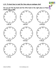 Reading analogue clocks / solve time word problems
