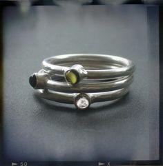 Tourmalines & Silver Stackable Rings by Joanna Morgan Designs
