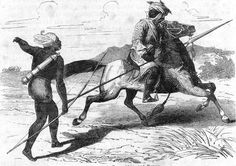 Mounted Bornu warrior wearing mail armor and wielding a lance. The Bornu Empire was founded c. 1400 in what is now Northeast Nigeria and endured until the late 19th century. By the 16th century, strong Arab and Turkish military influence led to the development of a fearsome, elite, armored Bornu cavalry.