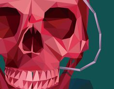 Low poly triangles skull and crow