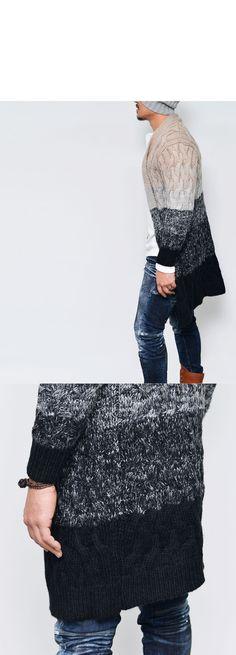 Chunky Gradation Wool Shawl Long Knit-Cardigan 103 - GUYLOOK