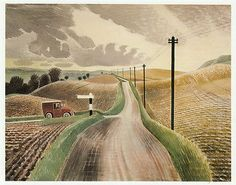 Wiltshire Landscape, Eric Ravilious vintage print 1983 ready mounted SUPERB