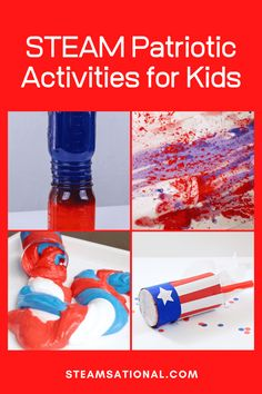 STEAM Patriotic Activities for Kids Easy Science Projects, Easy Science Experiments, Science Kits, Stem Projects, Summer Activities For Kids, Science For Kids, Science Activities, Kitchen Science, Sensory Play