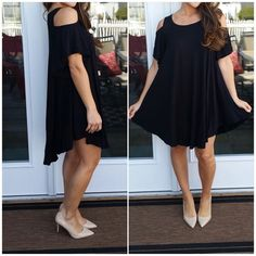 """BESTSELLER! Black cold shoulder tunic dress This was a best seller last year so I'm bringing it back for 2016. Super soft, stretchy and comfortable tunic dress. Cute over leggings as well. Classic black. Cold shoulder. 95% rayon 5% spandex. Relaxed fit. Sizing is S/M or L/XL. Made in the USA . S/M: 22"""" pit to pit laying flat across. 35"""" long. L/XL: 24"""" pit to pit laying flat across. 36"""" long. CupofTea Dresses"""