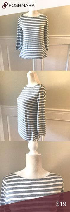 """J Crew Gray White Stripe Boatneck Tee Small Excellent pre-owned condition. Size small. Pure cotton tee with subtle boatneck and 3/4"""" sleeves. Side slit hem. Approximate measurements: 17"""" across chest; 23"""" long. J. Crew Tops"""