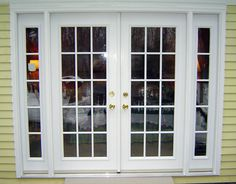 Replace sliding glass door with double French doors that hinge to the outside. Design without center stile, so that the opening will be 6 feet wide, unencumbered. Double French Doors, French Windows, French Doors Patio, Sliding Patio Doors, French Patio, Balcony Doors, Window Grill Design, Door Design, House Design