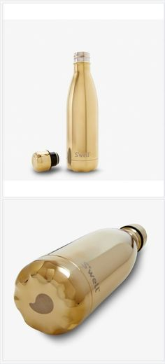 Metallic Collection yellow gold - a new luxurious S'well Bottle look - a great looking designer gift. Dust bag to protect the shiny exterior. Great for yoga, gym, fitness, hiking, workout. Also availa Gold Bottles, Water Bottles, Luxury Gym, Swell Bottle, Stainless Water Bottle, Ultra Premium, Christmas Gift Guide, Color Fashion, Bottle Design