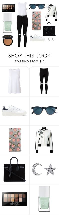 """Sans titre #4750"" by merveille67120 ❤ liked on Polyvore featuring T By Alexander Wang, Boohoo, adidas Originals, Oliver Peoples, Elie Saab, Yves Saint Laurent, Khai Khai, Maybelline, The Hand & Foot Spa and Gucci"