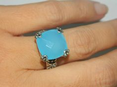 8 Carat Chalcedony Ring Sterling Silver by JewelrybyDecember67