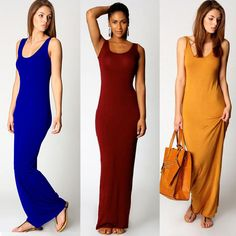 Women Long Dress Solid Round Neck Sleeveless Ankle Length Summer Basic Maxi Dress