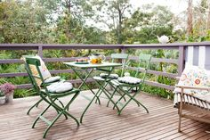 Enjoy your deck with chairs and tables in colours that mirror nature.