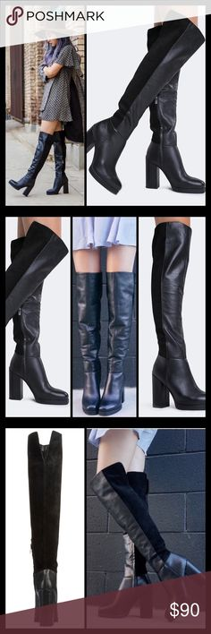 "▪️JUST IN▪️OVER-THE-KNEE MIXED TEXTURED BOOTS These over the knee boots will keep your look on trend all season long! ▪️Leather, suede & reptile embossed leather upper ▪️20"" shaft height, partial inside zipper ▪️15"" calf circumference, split topline and elastic insert for wider fit ▪️Square toe ▪️¾"" platform, 4¼"" covered block heel  ▪️Synthetic sole  🛍 2+ BUNDLE=SAVE  ‼️NO TRADES--NO HOLDS--NO MODELING  💯 Brand Authentic  ✈️ Ship Same Day--Buy By 2PM PST  🖲 USE BLUE OFFER BUTTON TO…"